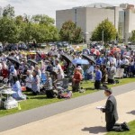 Worshipers gather during the Society of St. Pius X afternoon 'Mass of Reparation' at Bicentennial Park in front of the Civic Center in Oklahoma City, Okla. on Monday, Aug. 15, 2016. The event was held in response to the black mass that a satanic group is hosting in the Civic Center. Photo by Chris Landsberger, The Oklahoman